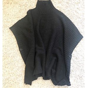 DIVIDED Black Oversized Pancho Sweater